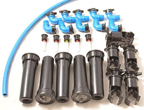 Montage-Set Hunter 5 x MP-Rotator und 5 x Pro-Spray-04 - automatische unterirdische Rasen-Bewässerungsanlage