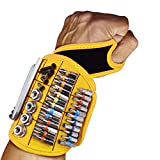 JDJQ Tool for Men Magnetic Tool Wristband with 16 Powerful Magnets, Gadgets Gifts for Men Father Carpenter, Magnetic Wristband for Holding Nails Screws Drill Ect Yellow