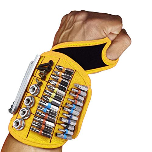 Herramientas Pulsera magnética para Tornillos, Herramienta para Hombres Pulsera magnética para Herramientas, Pulsera magnética para Sujetar Clavos, Tornillos, Taladro, etc.-Orange