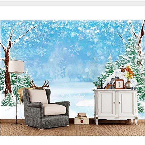 Meaosy Winter Häuser Deer Snow Cartoon 3D Tapetenwandbilder, Wohnzimmer Tv Sofa Wand Kinderzimmer Tapeten Wohnkultur-350X250Cm
