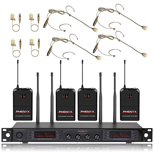 Wireless Microphone System, Phenyx Pro Quad Channel Cordless Mic Set with Four Bodypacks and Beige Headsets/Lapels, 4x40 Channels, Auto Scan,328ft Coverage, Ideal for DJ, Church,Events(PTU-7000B)