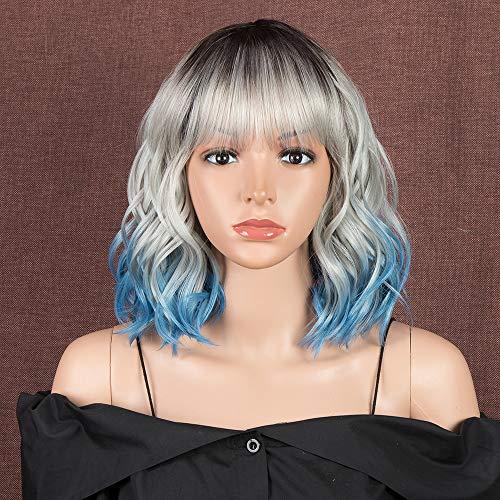 comprar pelucas mujer pelo natural rizado azul corto