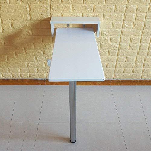 BH Mesa Plegable desplegable montada en la Pared, Escritorio de Madera para Cocina y Mesa de Comedor, 9 tamaños, Blanco, 115 * 40 * 111 cm