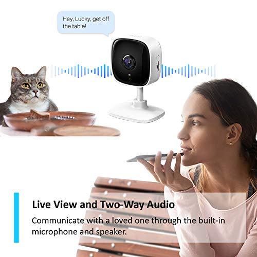 TP-Link Tapo Smarte Mini-Überwachungskamera, Indoor-CCTV, funktioniert mit Alexa & Google Home, kein Hub erforderlich, 1080p, 2-Wege-Audio, Nachtsicht, SD-Speicher, kostenlose Tapo-App (Tapo C100)