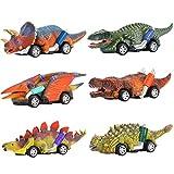 Tesoky Pull Back Dinosaur Cars, 6 Packs Mini Dinosaur Festival Toys for 3-6 Year Old Boys Girls, Pull Back Vehicles Birthday Gifts for 3-6 Year Old Boys Girls, Dinosaurs Party Toys for Boys Age 3-6