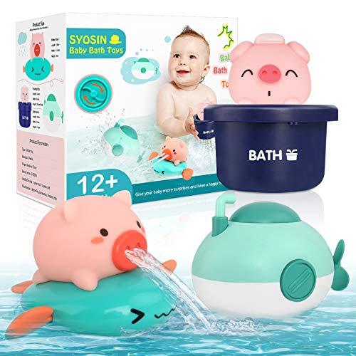 SYOSIN Juguete Bañera 3 Piezas, Juguetes de Baño para Bebés Aparato de Relojería Juguetes de Rociando Flotantes para Niños, Juego Bañera para Bebés de 6 Meses y 1 2 3 Niños