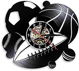 HIDFQY Sports Ball Combination Wall Clock Decoración Familiar Fútbol Baloncesto Golf Béisbol Golf Golf Retro Vinyl Record Reloj de Pared Regalos Deportivos Sin LED