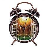 クロアチア国立公園の窓枠ビューの滝の黒の目覚まし時計時計家またはオフィスの装飾,最高の贈り物 アナログ おしゃれ 大音量 置き時計ベル 電池式 明かり- 直径約4インチ