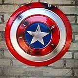 LHFD Escudo del Capitán América Hecho de Metal, Accesorios de Cosplay, superhéroe, Disfraz Retro, Escudo de Halloween, 75 Aniversario para Adultos y niños, Bar, decoración para Colgar en la Pared