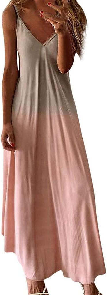 ONHUON Women Casual Sleeveless V-Neck Tie Dye Loose Plus Size Maxi Dresses Boho Long Dresses Summer Beach Dress