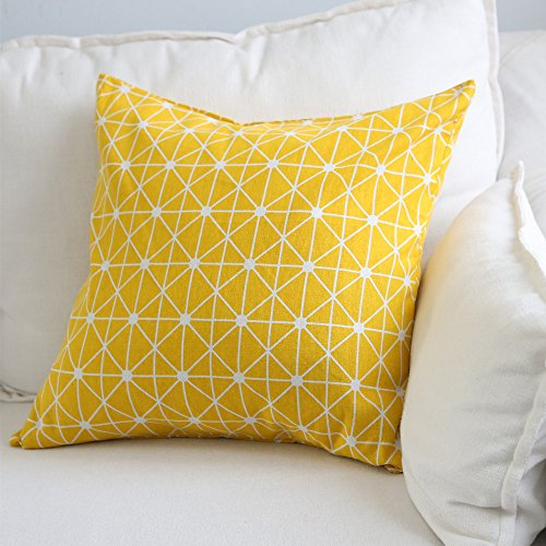 Aimeer 24 X 24 Inch Oversize Home Decorative Sofa/Bed Throw Pillow Cushion Cover with Invisible Zipper,Yellow Large Linen Pillow Case