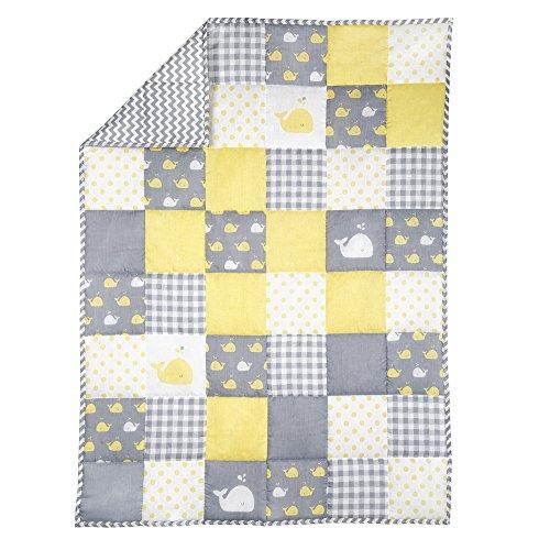 Manta de bebé - Edredón de Cuna Suave de algodón 100% de 127 x 97 cm para recién Nacidos y niñas Edredón SIN BPA - Amarillo