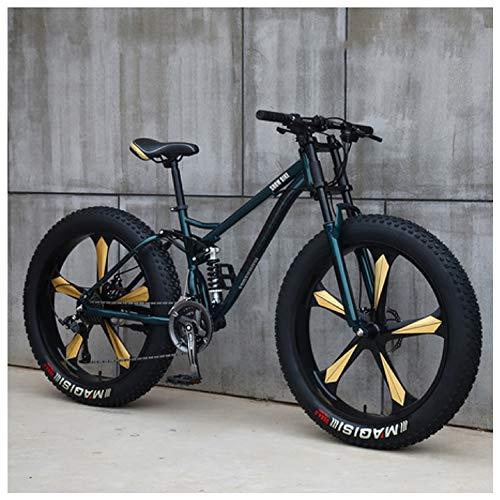NENGGE Mountain Bike, 26 Pollici Fat Bike da Montagna, Telaio in Acciaio ad Alto Tenore di Carbonio Biciclette, Bicicletta Biammortizzata,24 Speed,Green 5 Spoke
