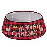 LISM 30 Pulgada Falda de árbol de Navidad - Collar de árbol con Patrón de Cuadros Negros y Rojos Decoración Hogareña Cubierta de la Base del árbol para Navidad Año Nuevo Partido