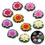 EQLEF Flor de loto artificial flotante impermeable flor de loto para decoración de acuarios de boda, 10 unidades de 4 pulgadas