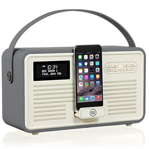 VQ Retro Mk II DAB & DAB+ digitale radio met FM Bluetooth, Dock Lightning en wekker donkergrijs