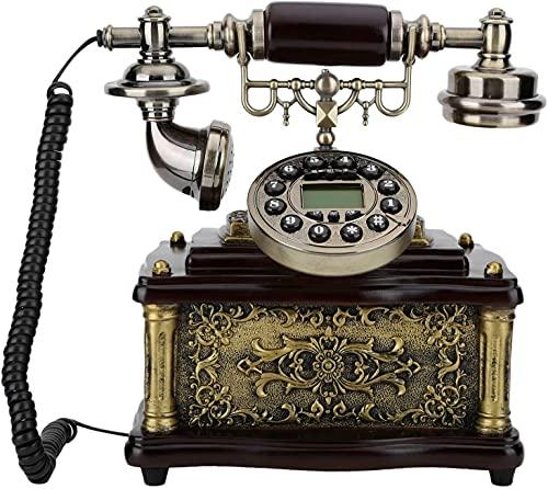 JDJFDKSFH Teléfono con Cable, Estilo Retro Push Push Rotary Dial Reditation Wood Sky Teléfono Teléfono Home Office, Soporte de teléfono con Cable Manos Llamadas Gratis