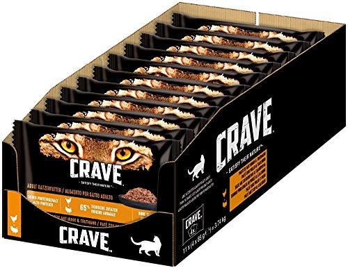 CRAVE Katzenfutter - getreidefreies, proteinreiches Nassfutter Pastete mit Huhn & Truthahn und Lamm & Rind, 44 Portionsbeutel (11 x 4 x 85g), 3740 g