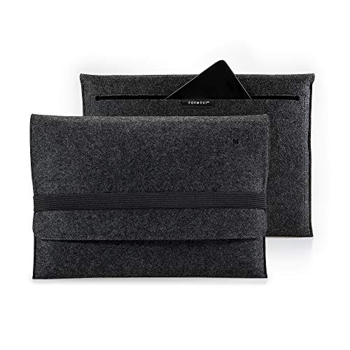 FORMGUT® Laptop Tasche für MacBook Pro 17 Zoll (2008-2011) aus Filz/Laptoptasche, Arbeitstasche, Aktentasche Herren und Damen/Laptop Bag, Laptop Case, Felt Sleeve/Dunkelgrau Schwarz