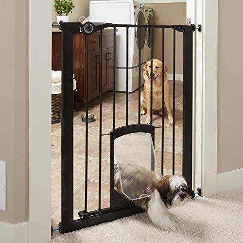 North States MyPet 38' wide 36' Tall Petgate Passage: Extra tall secure gate with small lockable pet door. Pressure Mount. Fits 29.8'-38' wide (36' tall, Matte Bronze)