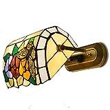 Mariposa Flores vidrieras Tiffany lámparas de pared Dormitorio bedsides Metal corredor pasillo porche lámparas de pared espejo frontal lámparas con interruptor de cable
