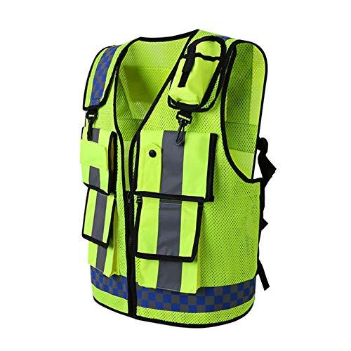 Gilet Alta Visibilità, Gilet Antinfortunistici con Multi-tasche di Sicurezza per Uomo da Lavoro, Realizzato con Nastro Riflettente con Cerniera Fodera