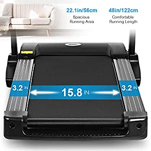 ONETWOFIT Folding Electric Treadmill, 2.0HP Motor, 1km/h - 12.8km/h, Automatically add lubricating Oil, Soft Drop System, Running Surface 48x16 inch, Ideal for Home/Office