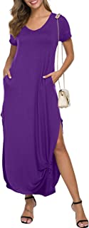 Womens Short Sleeve Maxi Dress Casual Summer Loose Plain Long Dresses with Pockets V Neck Side Split Vacation