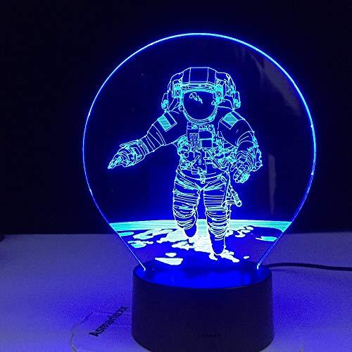 Traje espacial de astronauta Universe Spacewalk 3D LED acrílico luz nocturna niño dormitorio oficina cambio de color USB lámpara de mesa regalo para niños decoración del hogar
