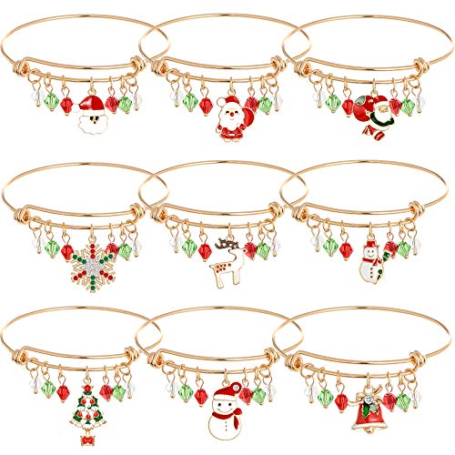 Christmas Expandable Charm Bracelet Holiday Jewelry Set Gift for Womens Girls, Thanksgiving Xmas Crystal Jewelry Christmas Snowman Snowflake Deer Claus Christmas Tree Christmas Bell Bracelet.