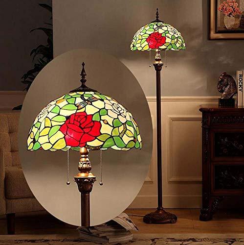JKL staande lamp Retro Tiffany 16 inch in tafellamp van gekleurd glas barok-vloerlamp woonkamer slaapkamer bedlampje met libelle ritssluiting E27 (lamp niet inbegrepen