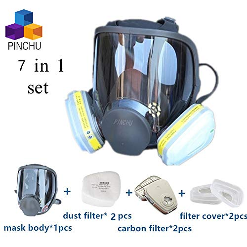 7 in 1 Gas Mask Full Face Facepiece Respirator Same for Gas Respirator with Carbon Filters Painting Pesticide,with 6001