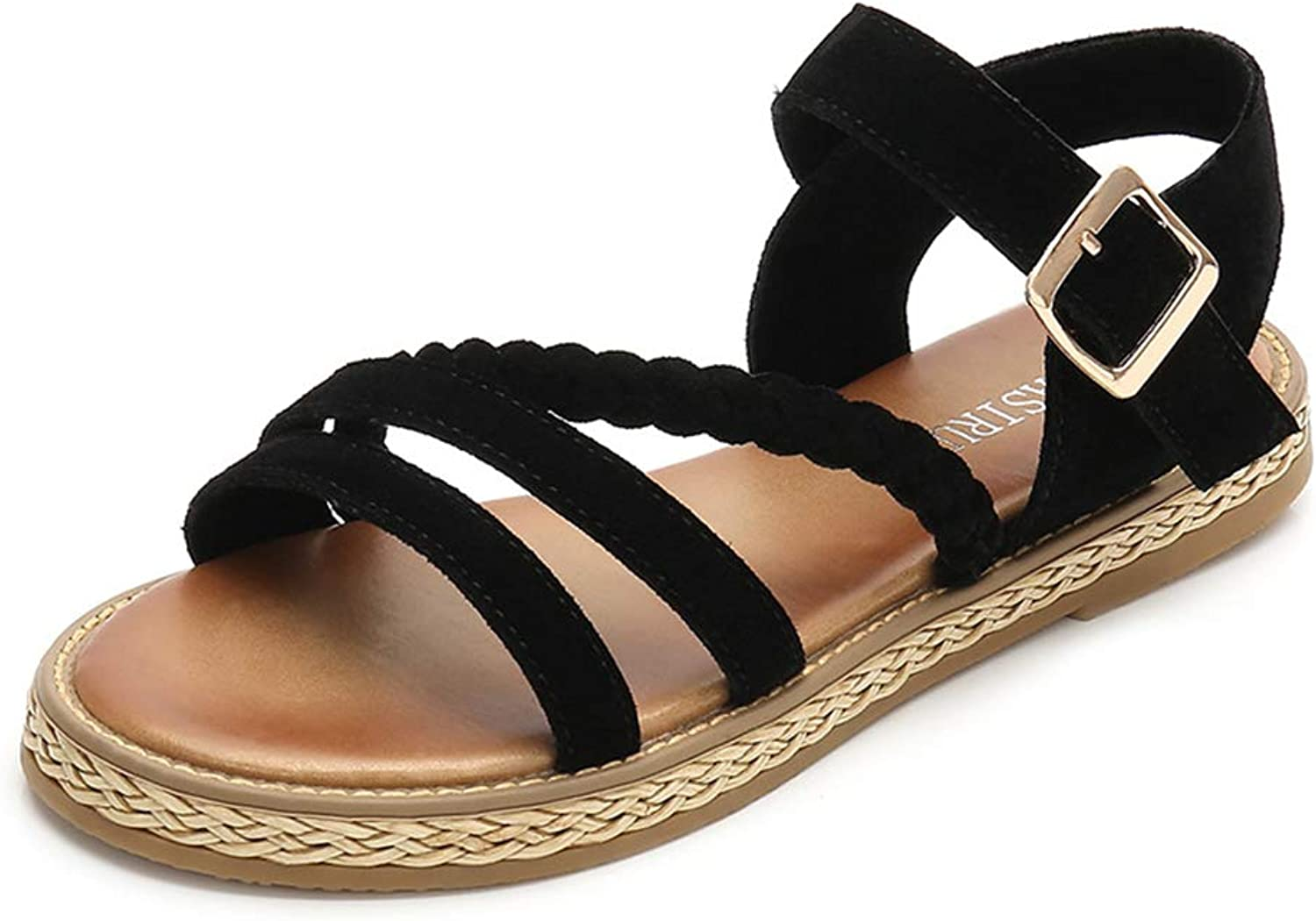 Mobnau Women's Flat Ankle Strap Skidproof Leather Fashion Sandals