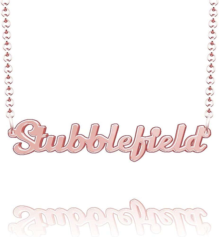 LoEnMe Jewelry Stubblefield Name Necklace Stainless Steel Plated Custom Made of Last Name Personalized Gift for Family