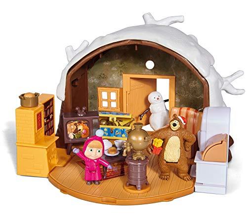 Simba Masha & Michka - Hucha de Masha de Invierno + 2 Figuras y 1 muñeco de Nieve