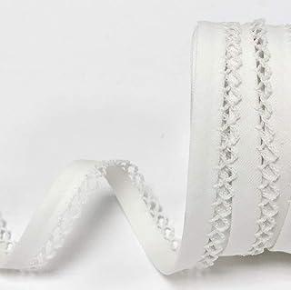 Bies de encaje de picot con borde de ganchillo (12 mm de ancho, 6 longitudes, 24 colores) 5 m blanco