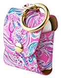 Lilly Pulitzer Pink/Blue Leatherette AirPod Holder, Cute Keychain Case with Access to Charging Port, Don't Be Jelly