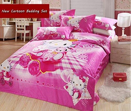 Juego de funda nórdica Hello Kitty, tamaño Queen/King con edredón color blanco, 5piezas, King