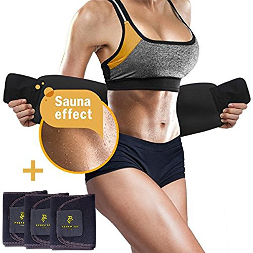 Perfotek 4 Pack Waist Trimmer Belt, Weight Loss Wrap, Stomach Fat Burner, Low Back and Lumbar Support with Sauna Suit Effect, Best Abdominal Trainer