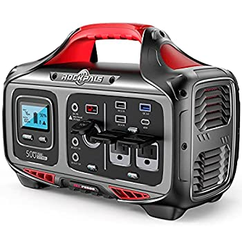 ROCKPALS Portable Power Station 500W - 505wh  140400mAh  Solar Generator with 12V Regulated Power Supply 750W Peak 2 Pure Sine AC Outlet Pass-Through Charging PD 45W & DC 120W