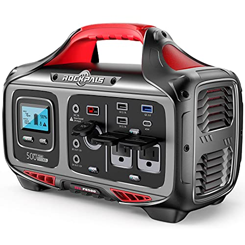 ROCKPALS Portable Power Station 500W - 505wh (140400mAh) Solar Generator with 12V Regulated Power Supply, 750W Peak 2 Pure Sine AC Outlet, Pass-Through Charging PD 45W & DC 120W