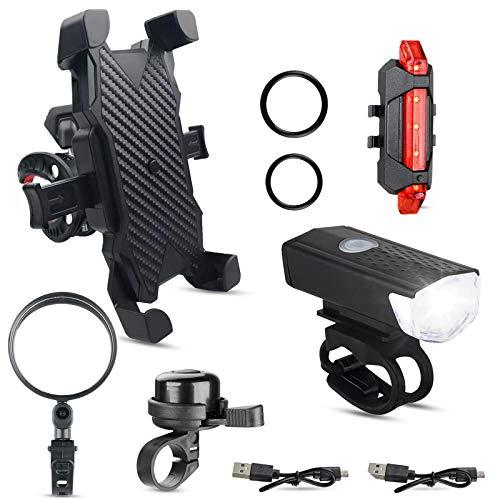 TCJJ Paquete de 5 accesorios de bicicleta ,linterna y luz trasera de bicicleta recargable USB, campana de bicicleta, soporte para teléfono de bicicleta y espejo de bicicleta para manillares