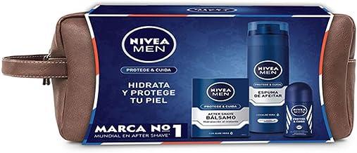 Nivea Men Protege y Cuida Neceser, Set de Baño con Espuma Protectora de Afeitar (1 x 200 ml), Bálsamo After Shave (1 x 100 ml) y Desodorante Roll on (1 x 50 ml): Amazon.es