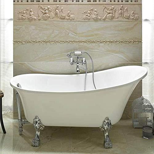 BADLAND Freistehende Badewanne Wanne Oval Retro 160x70 mit Füßen und Ablaufgarnitur GRATIS