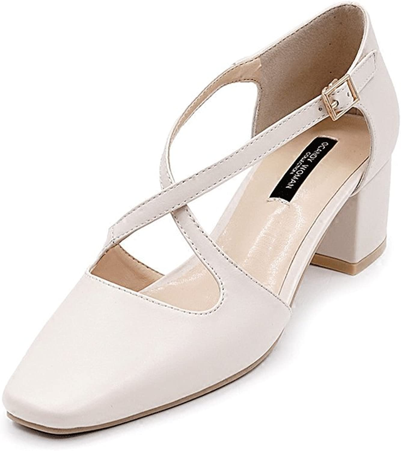 Rough With High Heels Summer Square Head Ladies shoes Roman Sandals Elegant Baotou shoes ( color   Beige , Size   39 )