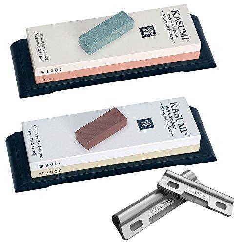 Schleifstein Set + Hilfe - Kasumi Damast Messer - 240/1000 + 3000/8000