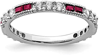 925 Sterling Silver Created Red Ruby Round Cubic Zirconia Cz Wedding Ring Band Size 8.00 Fine Jewelry Gifts For Women For Her