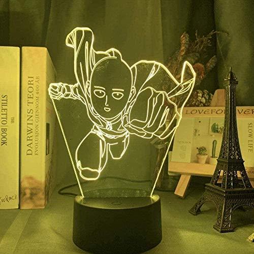 One Punch Superman 3D Night Light LED Colorful Slide USB Touch Control remoto Lámpara de escritorio Hogar Dormitorio Decoración Juguete de regalo especial para niños
