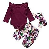 Ropa Bebe Niña Invierno Otoño Fossen Recién Nacido Niña Bebé Camiseta y Pantalones de Flores y Cintas de Pelo (6 Meses, A)