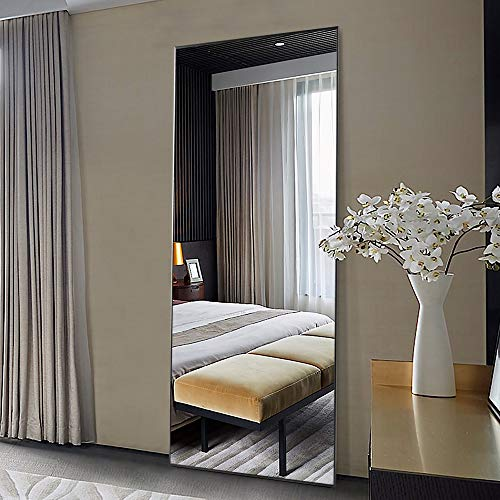 ONXO 71'' x 24'' Full Length Mirror Large Floor Mirror Without Stand Wall-Mounted Mirror Dressing Mirror Aluminum Frame Mirror for Living Room/Bedroom/Cloakroom,Black (JJ00944AA-XYY)